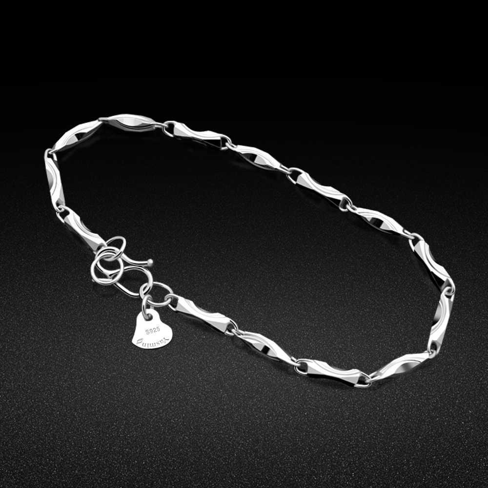 925 סטרלינג כסף צמיד מינימליסטי כוכב כפול שרשרת מתכוונן צמיד עכס נקבה pulsira