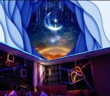 купить Custom ceilings Dream Starry Moon 3D Ceiling Mural 3d ceiling murals wallpaper  moon ceilings по цене 918.35 рублей
