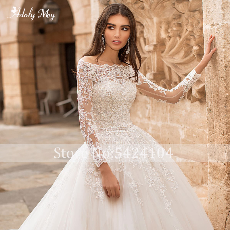 Image 5 - Adoly Mey Romantic Boat Neck Appliques Long Sleeve A Line Wedding Dress 2020 Luxury Sashes Beaded Court Train Vintage Bride GownWedding Dresses   -