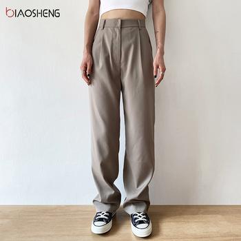 Spodnie dla kobiet 2021 spodnie z wysokim stanem garnitury moda luźne proste nogawki pełnej długości kobiet dorywczo rocznika Streetwear tanie i dobre opinie BIAO SHENG COTTON REGULAR Pełna długość NONE CN (pochodzenie) Lato HIGH BS425 Stałe Na co dzień Mieszkanie Dla osób w wieku 18-35 lat