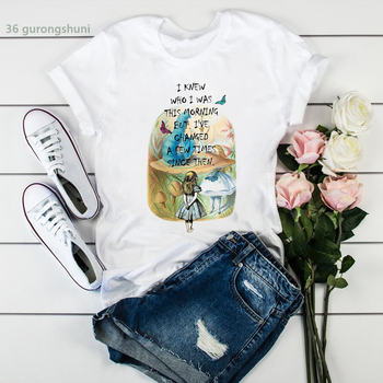 New summer style tshirt women interesting fairyland sleepwalking girl print Tee shirt femme clothe high quality women tees tops image