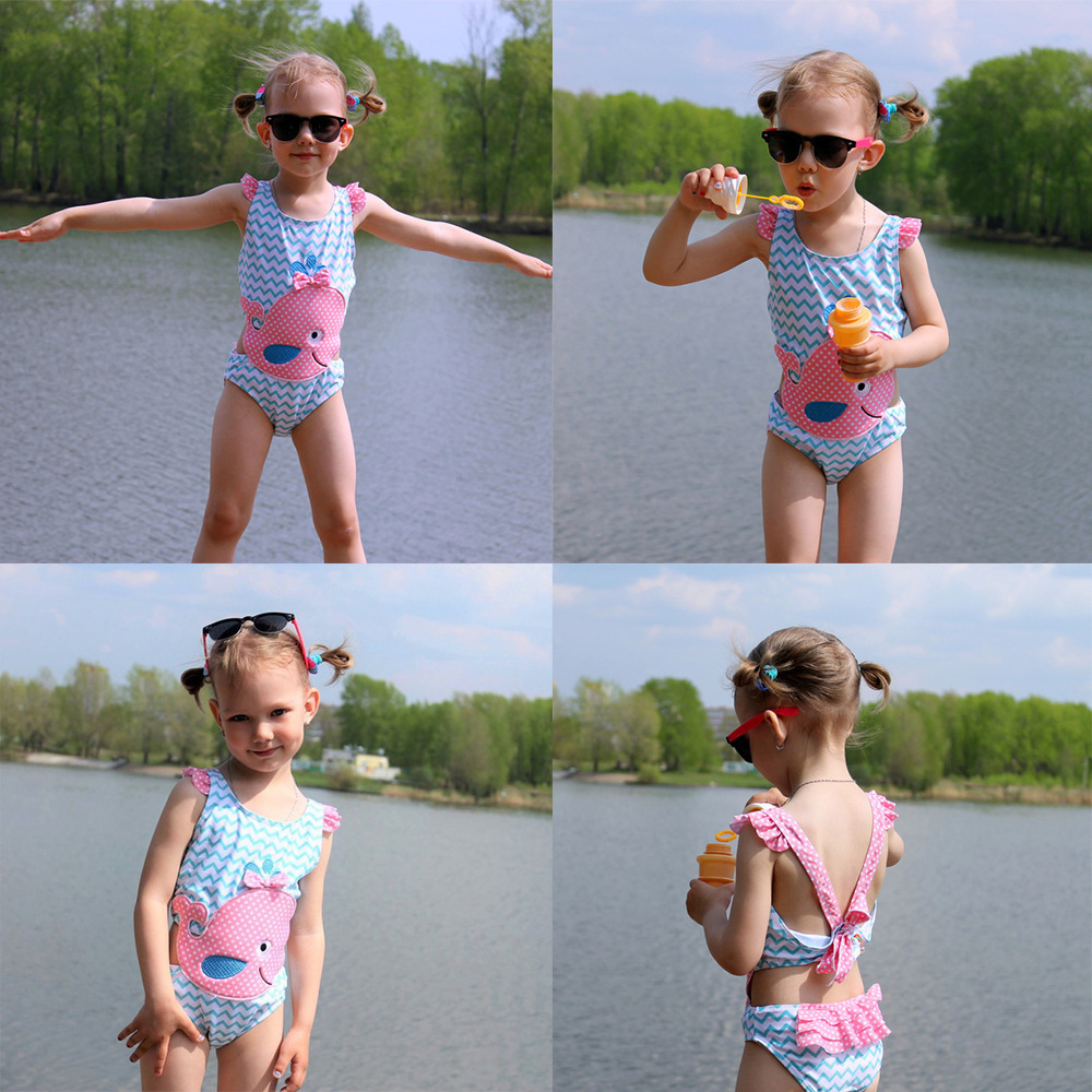 One-piece Swimsuit For Children Summer 2019 New Style Big Boy Stripes Cute Whale Baby Cartoon GIRL'S Swimsuit