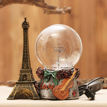 Static Induction Glass Ball Creative Magic Ball Figurines Skull Hand Ball Light Figurines Eiffel Tower Home Desktop Decorations