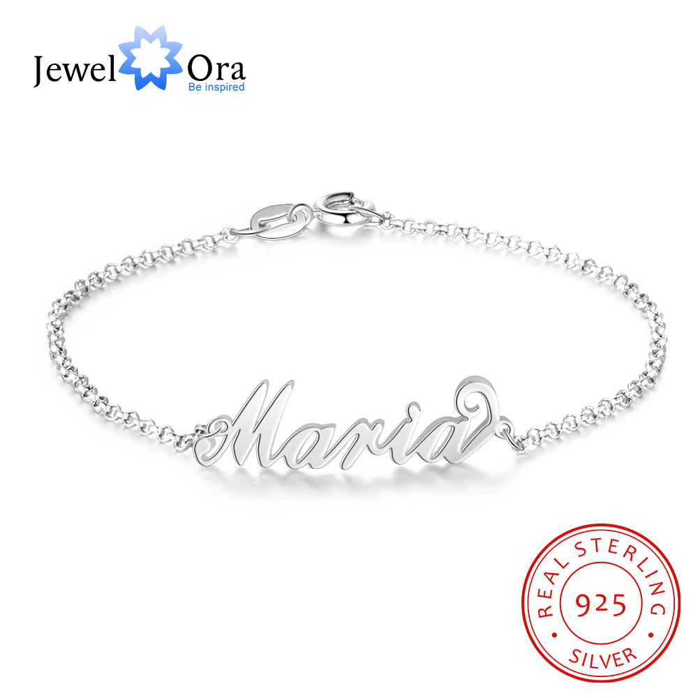 925 Sterling Silver Personalized Custom Name Bracelets For Women Customized Charms Chain Bracelet Sister Gift(JewelOra AS101777)