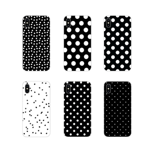For Apple iPhone X XR XS 11Pro MAX 4S 5S 5C SE 6S 7 8 Plus ipod touch 5 6 Transparent Soft Case Covers Black And White Polka Dot(China)