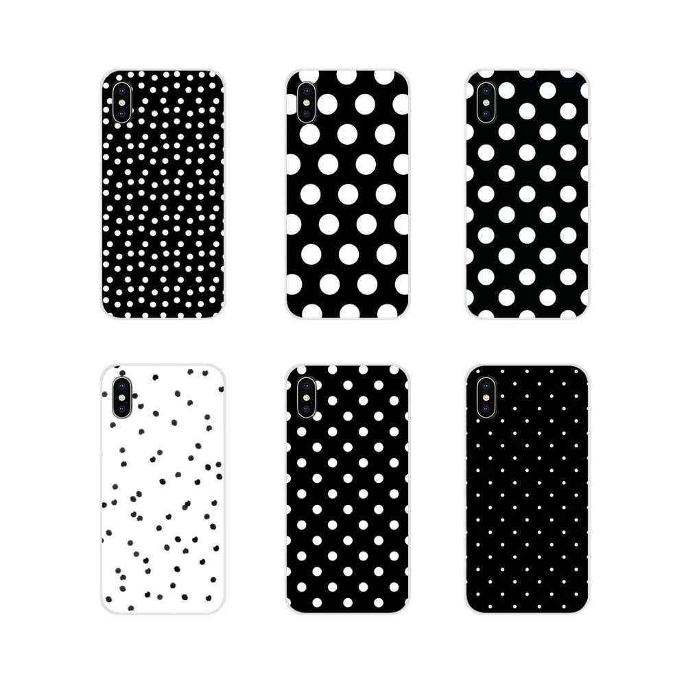 Para Apple iPhone X XR XS 11Pro MAX 4S 5S 5C SE 6 6S 7 7 Plus ipod touch 5 6 suave funda transparente cubre lunares blanco y negro
