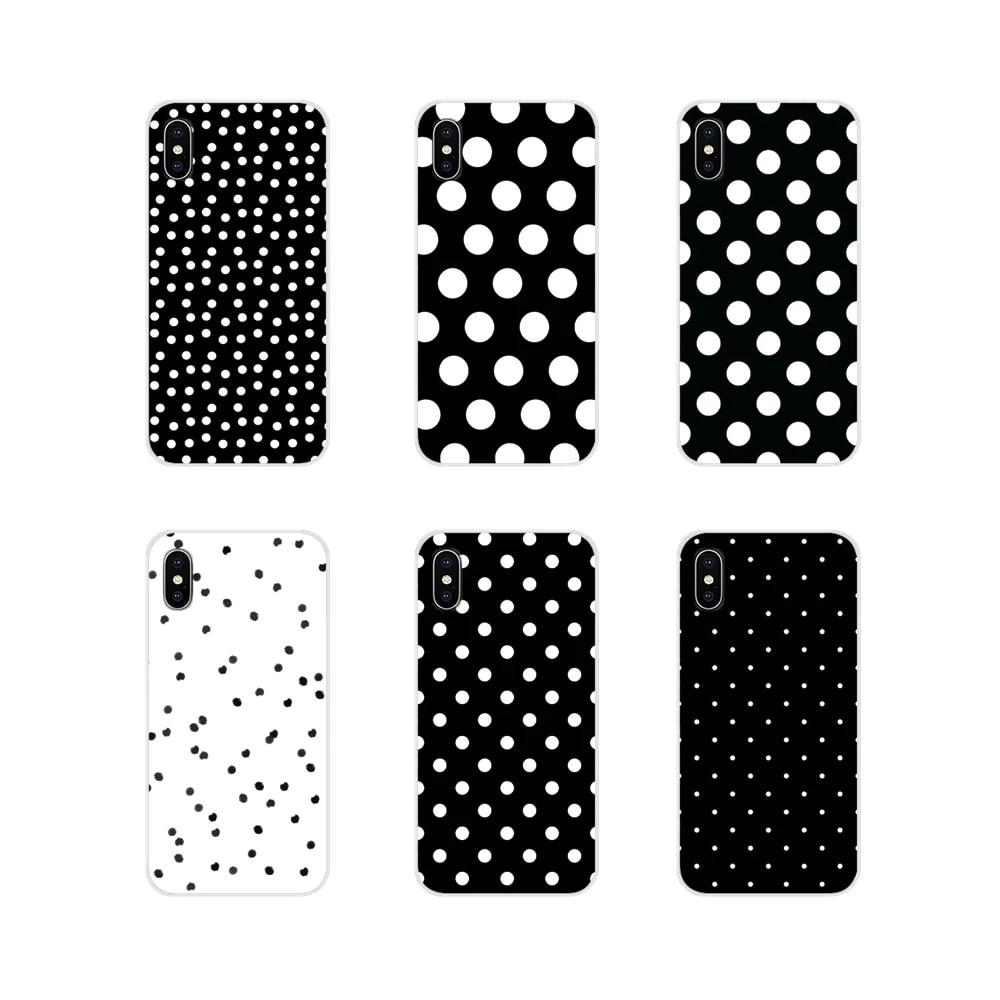 Pour Apple iPhone X XR XS 11Pro MAX 4S 5S 5C SE 6S 7 8 Plus ipod touch 5 6 Coque Souple Transparente Couvre Noir Et Blanc À Pois