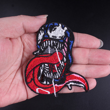 DIY Movie Iron On Patches Red Tongue Venom Embroidered Sticker Super Hero Tee Rock Style Patch On Clothing For Jacket embroidered rose patch tee dress