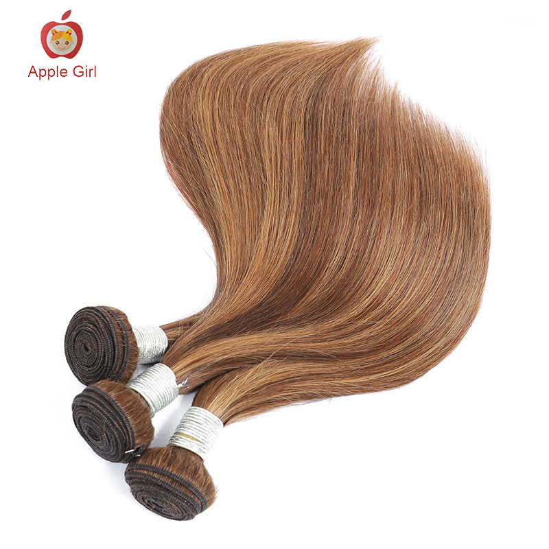 Highlight 3 Bundles With Closure    Bundles With Frontal Colored Applegirl Straight  Hair 4PCS/LOT 4