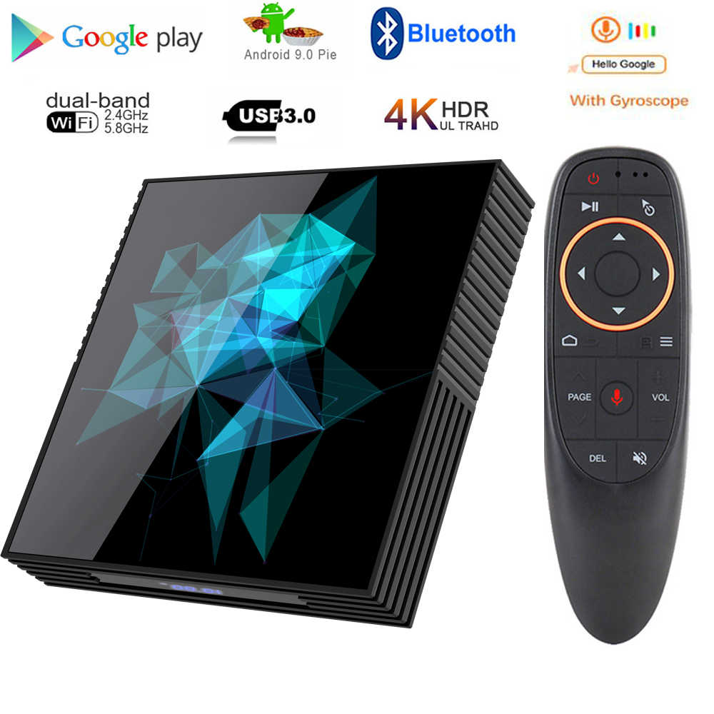 Google tv box android 9,0 H96 MAX Rockchip 4G 16 GB 32 GB 64 GB Android tv box 2,4/5,0G WiFi Bluetooth 4,0 4 K 3D iptv Android box
