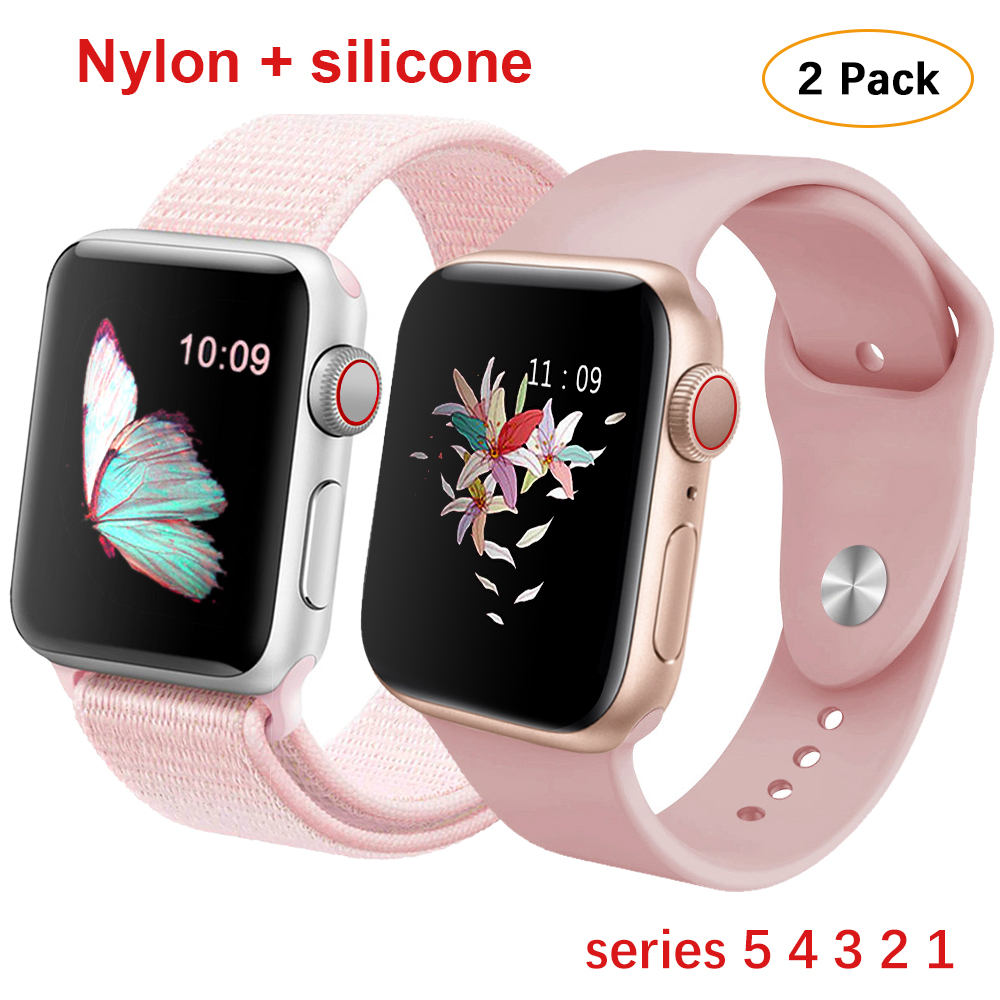 For Apple Watch Band Series 5 4 44mm 40mm Nylon+Silicone Strap Sport Loop Bracelet Rubber Watchband For Iwatch 3/2/1 38mm 42mm
