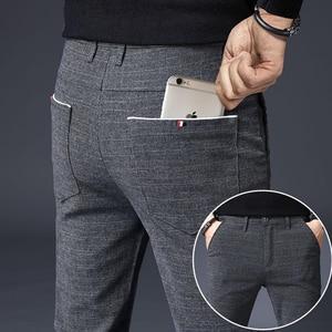 2020 Men's Stretch Stripe Casual Pants Mens Four Seasons High Quality Business Trousers Men's Straight Harem Pants