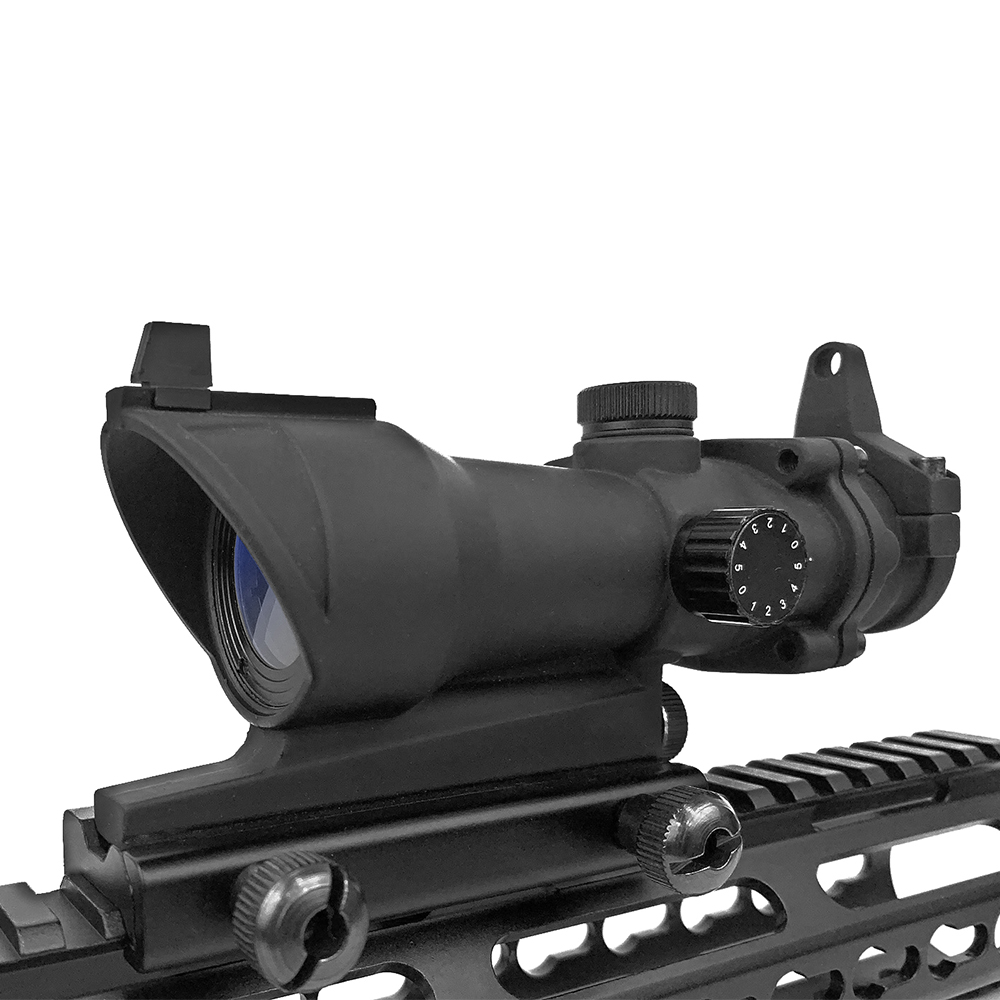 Image 3 - LUGER Hunting Optical Scope ACOG 1X32 Tactical Red Green Dot Sight Illuminated Rifle Scope With 20mm Rail For Airsoft Gun-in Riflescopes from Sports & Entertainment