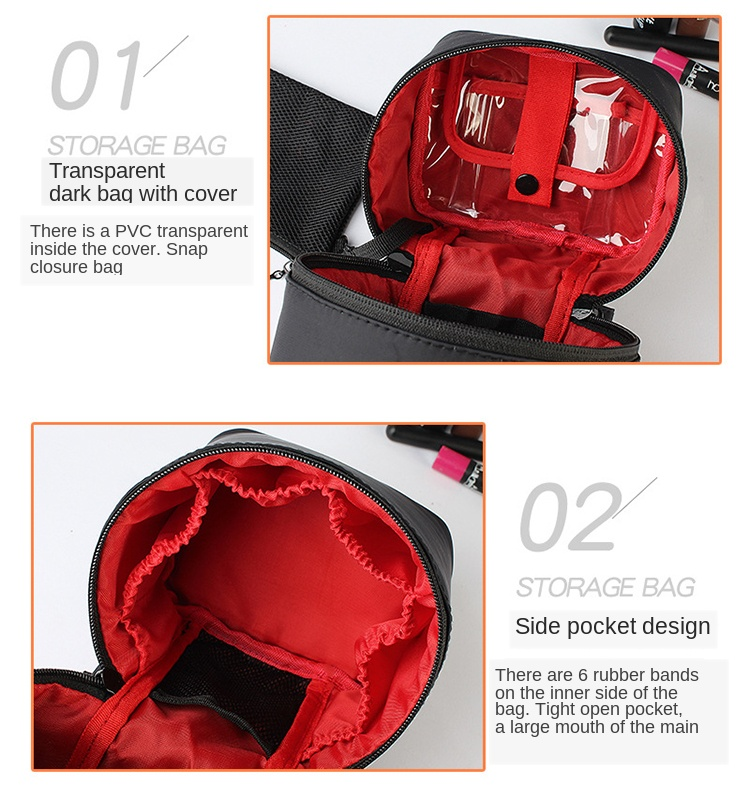 Washable Barrel Shaped Makeup Organizer with Zipper for Women Suitable for Travel and Home Use 15