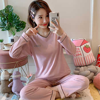 Autumn Women Comfortable Cotton Cute Pajama Set long Sleeve Sleepwear Suit Girl Print Pyjama Set Womens Nightshirt Sets Outwear - Category 🛒 Underwear & Sleepwears