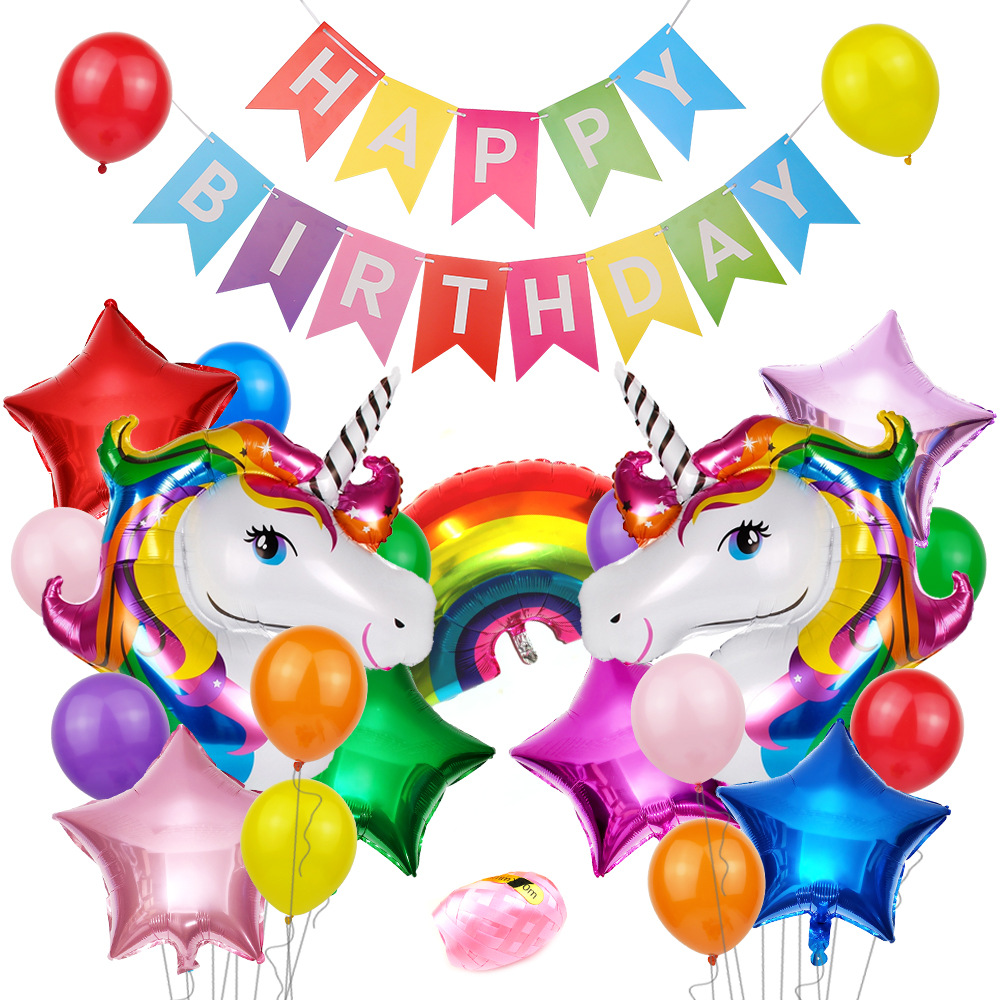 Unicorn Balloon Package Party Supplies Unicorn Theme Decoration Bag Child Birthday Party Supplies Cartoon Hat