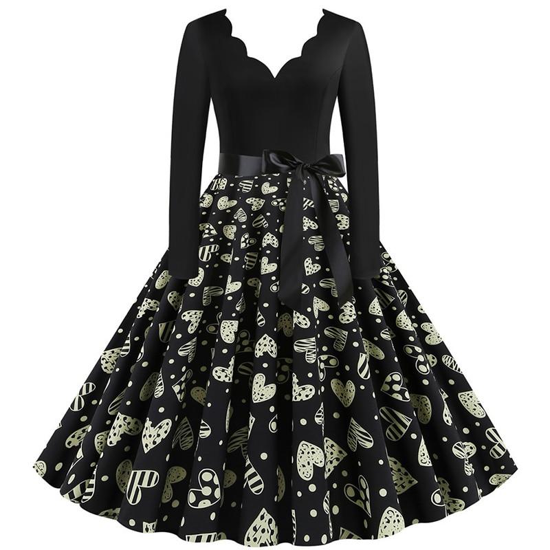Women Long Sleeve Winter Vintage Dresses Sexy Black Music Note Print V-neck Rockabilly Pin up Party Dress Vestidos Plus size 643