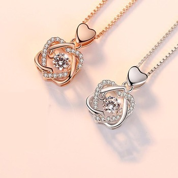 100% real Silver necklace with round zircon pendent  4