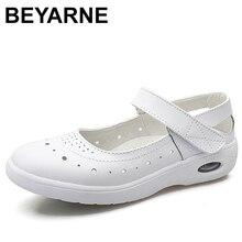 BEYARNEWomenแบนรองเท้ารองเท้าผู้หญิงรองเท้านุ่มสบายสตรีSliponพยาบาลLoafersสีขาวZapatillas mujer