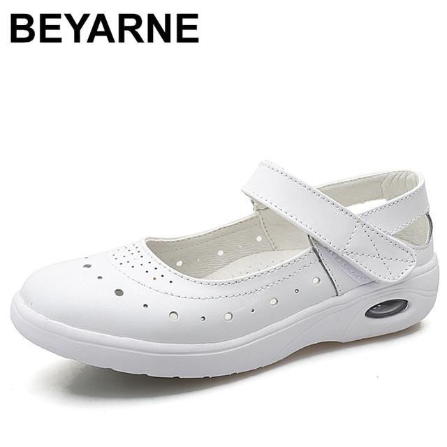 BEYARNEWomen płaskie buty kobieta obuwie miękkie wygodne damskie SlipOn pielęgniarka mokasyny białe oddychające płaskie zapatillas mujer