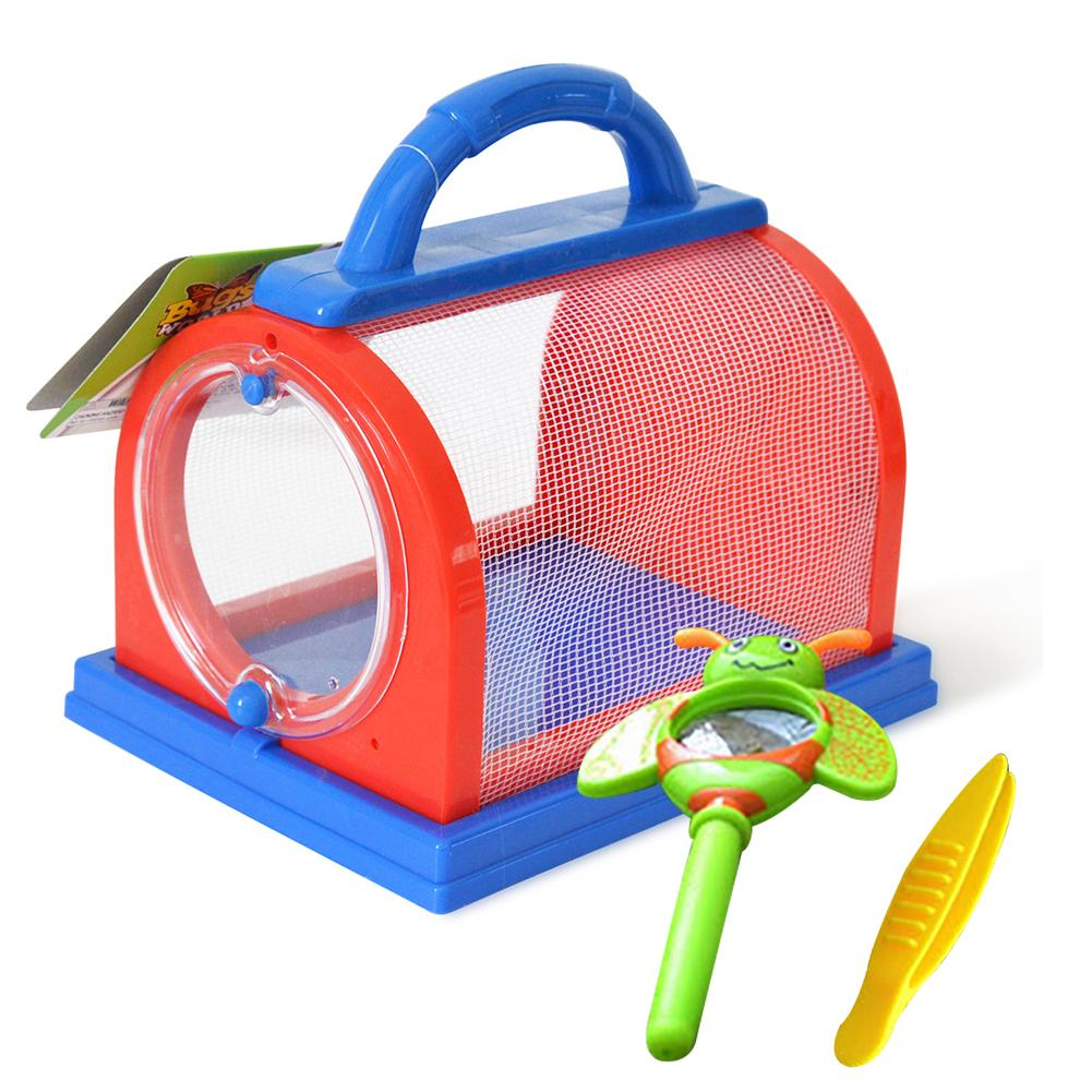 Portable Kids Insect Bug Cage With Tweezers Magnifier Backyard Outdoor Scientific Exploration Critter Educational Toy