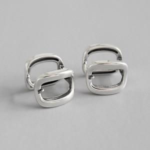S925 Silver Ear Button Geometric Square