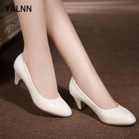 Yalnn Female Mature Fashion Dress Casual Plus Size Neutral Pumps White Heels Block Shoes Spring/Autumn Office Lady Shoes Pumps