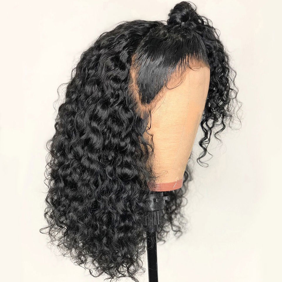 Transparent HD Lace Front Human Hair Wigs 6inch Deep Part 150% Curly Peruvian Remy Hair 13x6 Lace Front Wigs Pre Plucked