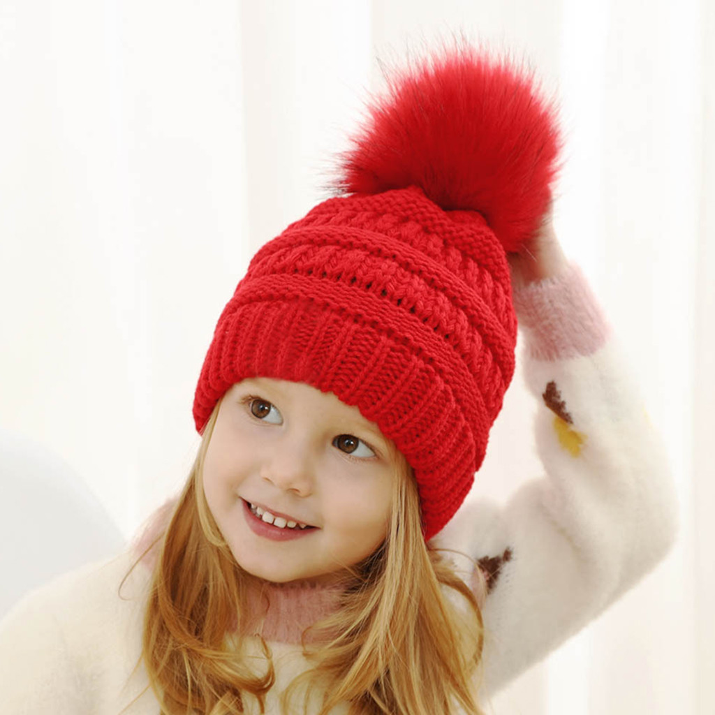 Babies Boys Girls Spanish Style Large Pompom Traditional Cable Hat