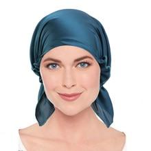 New Muslim Satin Pre-Tied Solid Turban Hat Headscarf Chemo Beanies Caps Cancer Headwear Head Wrap Hair Loss Accessories