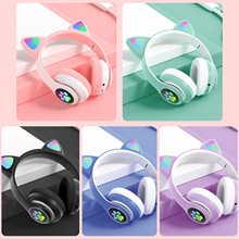 Vococal Bluetooth 5.0 Headphones Foldable Cute Cat Ear LED Wireless Headset with Stereo Sound for Kids Chrismas Gift