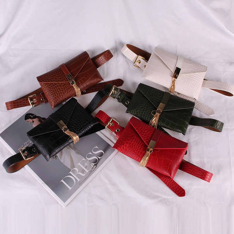Metal Fringe Tassel Waist Packs Women Soft PU Leather Crocodile Grain Waist Belts Wallet Packs Alligator LeatherTravel Phone Bag