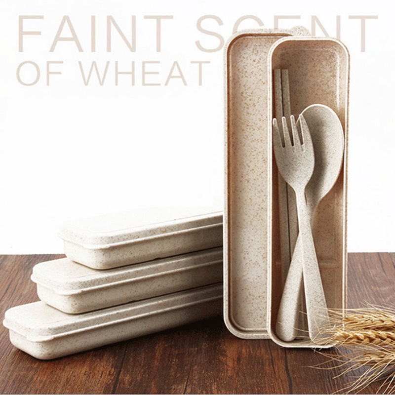 3Pcs/set Portable Stainless Steel Cutlery Set Wheat Straw Fork Dinner Tableware Set Tableware Case Kit For Camping