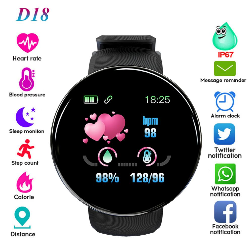 D18 Bluetooth Smart Watch Men Blood Pressure Round <font><b>Smartwatch</b></font> Women Sport Tracker For Android Ios SW003 Free shipping image