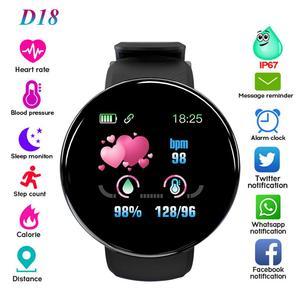 Reloj inteligente D18 SW003 para hombre y mujer, reloj inteligente deportivo redondo con control de la presión sanguínea y Bluetooth para Android Ios