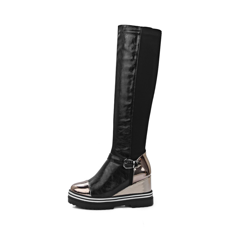 Image 5 - Wedges Heels Women's Boots Winter Platform Slip on Knee High Boots Women Fashion Height Increasing Casual Red Black Women Shoes-in Knee-High Boots from Shoes