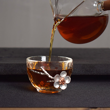 Japanese Glass Tea Cup with Flowers Wine Brandy Vodka Whiskey Cups Milk Coffee Juice Creative Drink Set for Friends