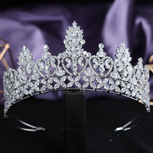Elegant 5A Level Cubic Zirconia Bridal Tall Tiaras CZ Wedding Queen Crown Headpieces Pageant Party Prom Hair Jewelry Accessories micro paved zircon crown full cubic zirconia tiara cz tiaras vintage bridal diadem wedding hair accessories coroa noiva wigo1172
