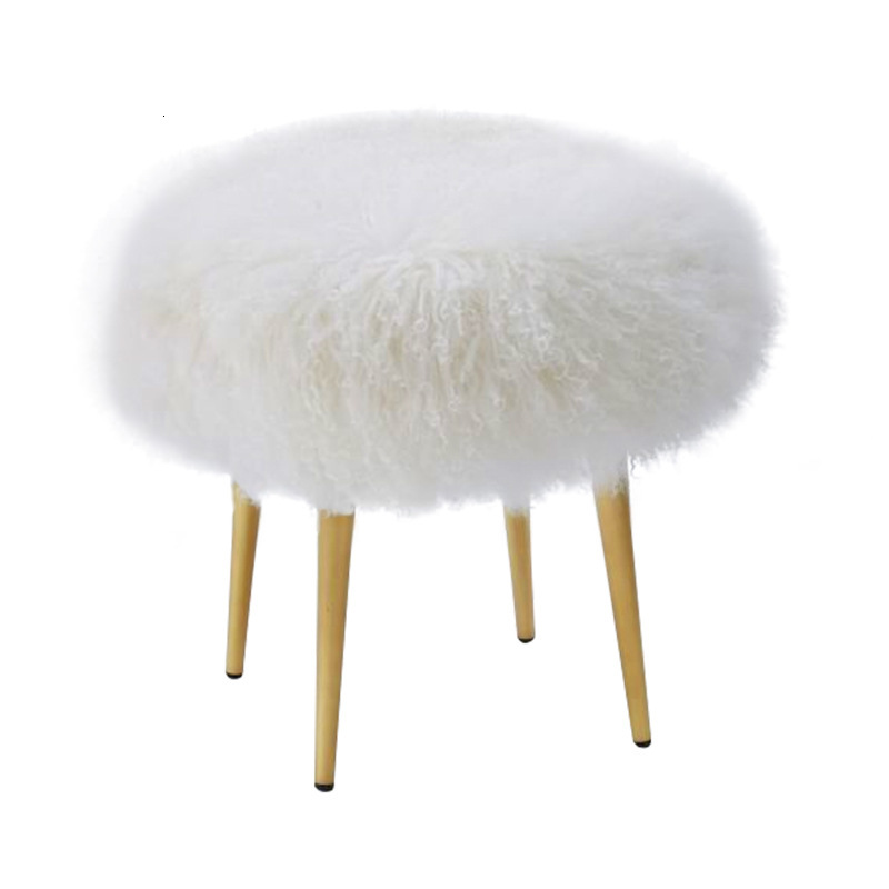 Simple White Beach Wool Stool Stainless Steel Bedroom Dressing Stool Makeup Stool Sofa Stool Shoes Stool Report This Product