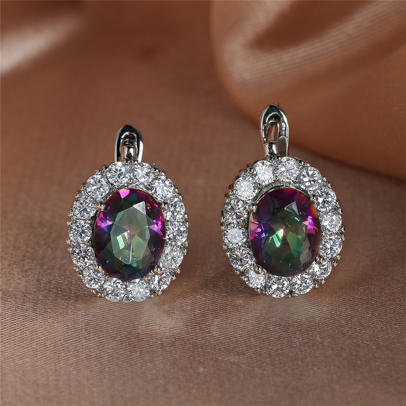Multicolor Zircon Big Oval Stone Hoop Earrings For Women Wedding Jewelry Vintage Fashion Rainbow Crystal Silver Color Earrings