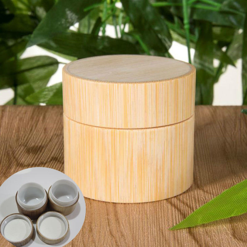 Bamboo Bottle Cream Jar Nail Art Mask Cream Refillable Empty Cosmetic Makeup Container Bottle Storage Box 5g 10g 15g 20g 30g 50g