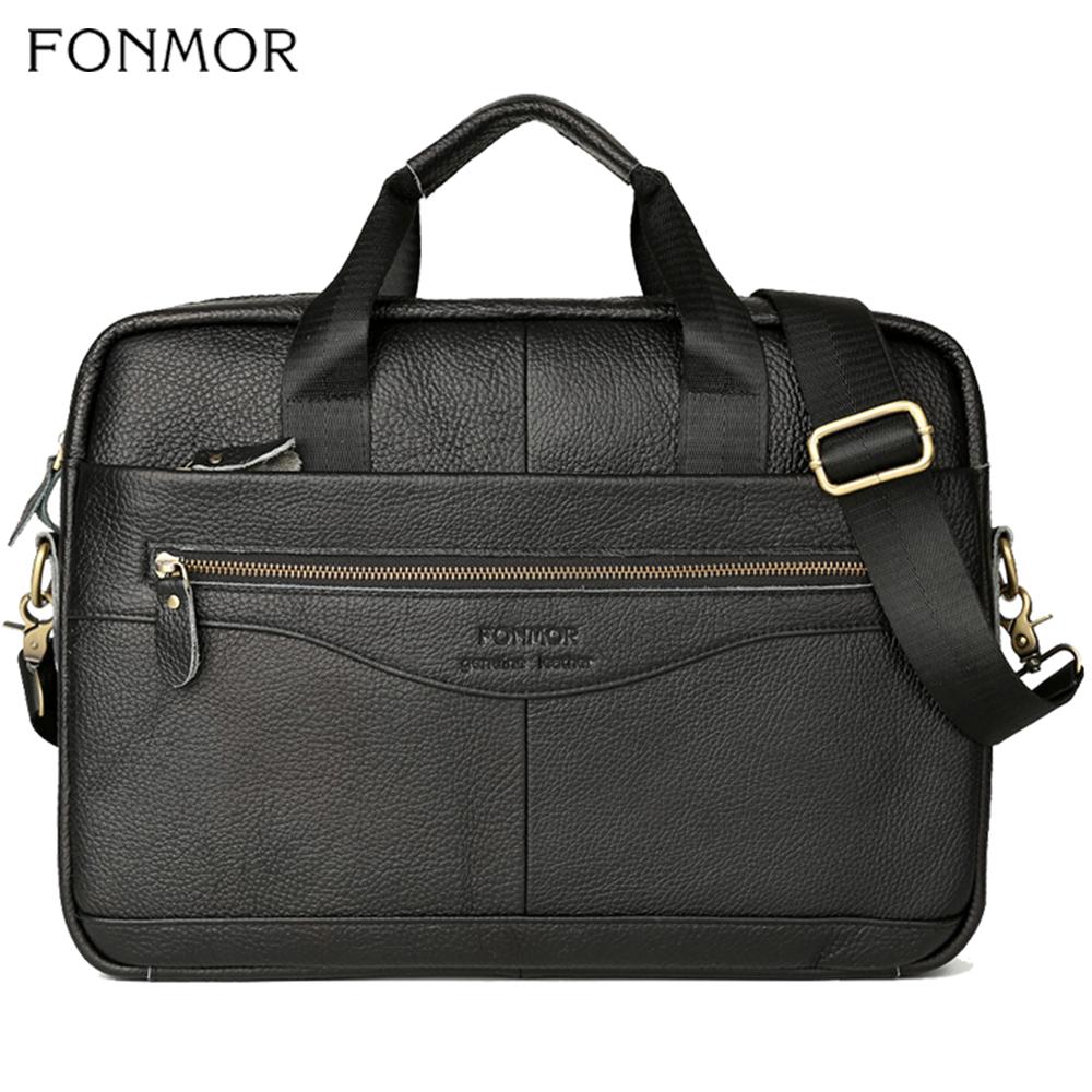 Fonmor Genuine Leather 15.6 Laptop Briefcase For Men Messenger Shoulder Bags Male Business Brown Crossbady Bag High Quality New