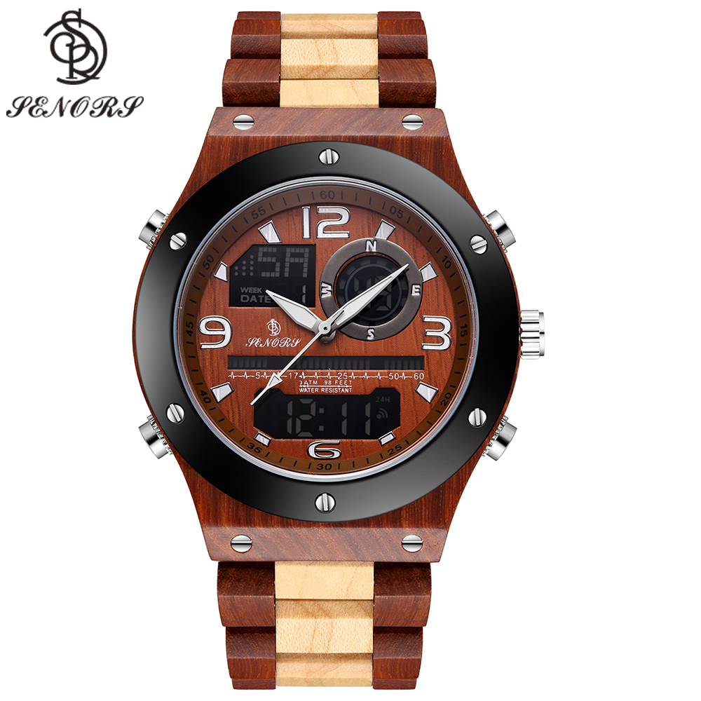 Senor Digital Watch Wood Watch Men Military Sport Wristwatch Mens Quartz Watches Top Brand Luxury Wooden Watch Male Relogio(China)