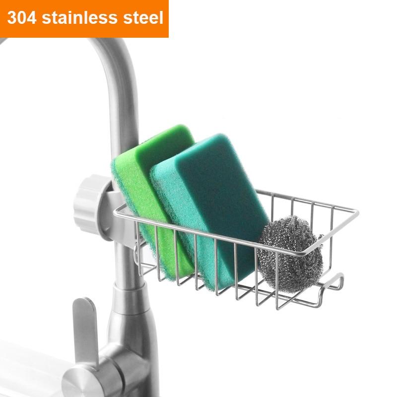 New Stainless Steel Faucet Rack Sink Drain Household Dish Cloth Sponge Storage Pool Storage Rack Finishing Rack Kitchen Supplies