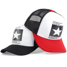 HotSale New Summer Mesh Fashion Cap Hip Hop Pentagram Stars Embroidery Baseball Cap Men Women Unisex Adult Visor Hats Travel Cap