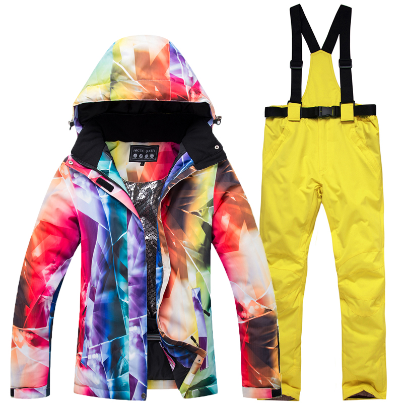 Image 4 - New Thick Warm Ski Suit Women Waterproof Windproof Skiing and  Snowboarding Jacket Pants Set Female Snow Costumes Outdoor WearSkiing  Jackets