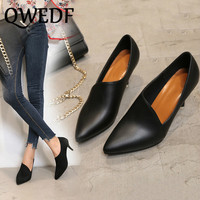 QWEDF Work shoes black ladies small high heeled shoes women 2019 new stiletto pointed European and American women's shoes GB 55