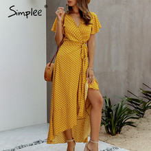 Simplee seksi polka dot kadın elbise artı boyutu fırfır yüksek bel v boyun yaz elbisesi rahat pamuk bir çizgi kemer tatil maxi elbise