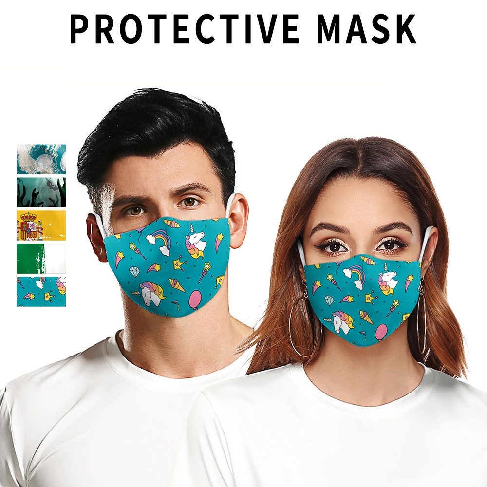 2020 3D Italy Spanish Flag Dust Masks Adult PM2.5 Filters Women/Men Print Mask Anti Dust Reusable Cotton Face Mask
