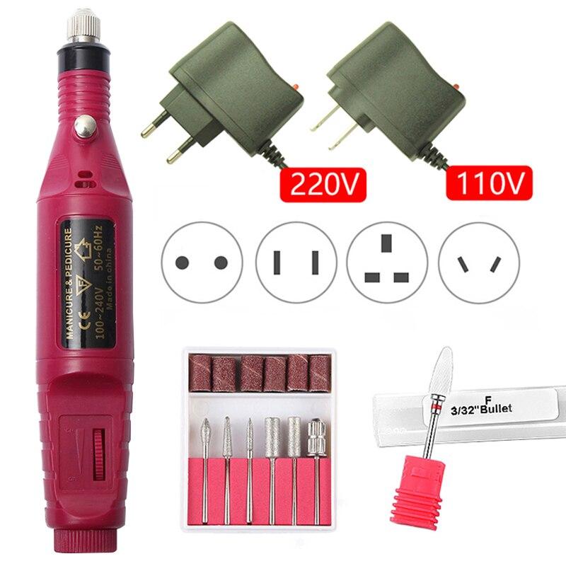 1 Set Professional Electric Nail Drill Machine Kit Manicure Machine Nail Art Pen Pedicure Gel Ceramic Nail File Nail Art Tools